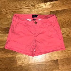 American Eagle pink denim midi shorts